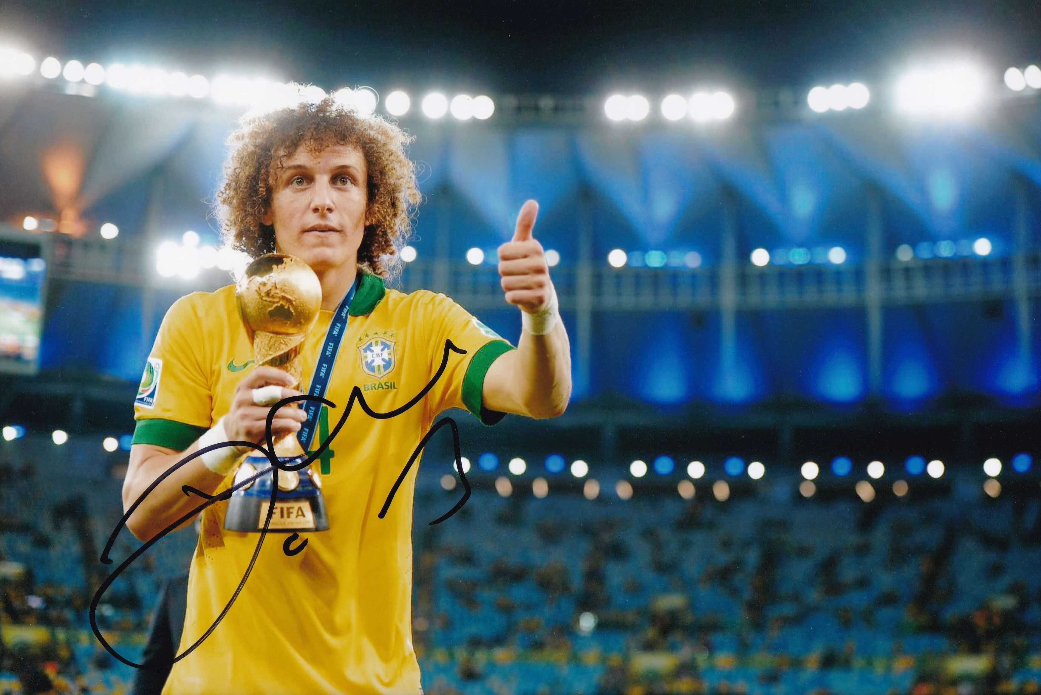 "David Luiz Signed 12x8"" Photograph & COA"